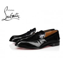 Christian Louboutin No Penny Flat Loafer with Calf - BLACK
