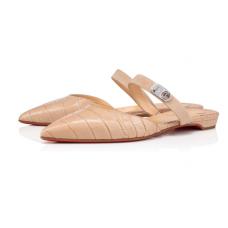 Christian Louboutin Choc Lock Flat Sandals with BEIGE-CALF