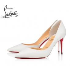 Christian Louboutin Iriza 85-mm Heel with Shiny Nappa Leather - WHITE