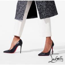 Christian Louboutin Kate 100-mm Heel with Nappa Shiny Leather - Black