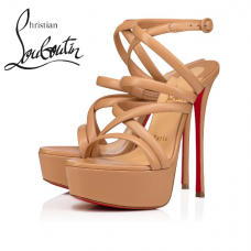 Christian Louboutin Cleissimo Alta 150mm Platforms in Kid Leather - NUDE