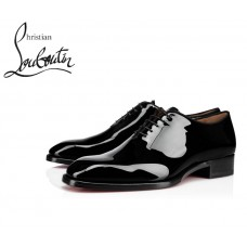 Christian Louboutin Corteo Flat Oxfords with Patent Leather - BLACK