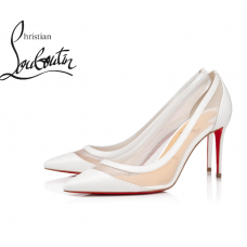 Christian Louboutin Galativi 85 mm Pumps in Leather - WHITE