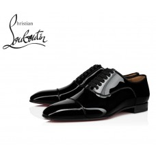 Christian Louboutin Greggo Flat Oxfords with Patent Leather - BLACK