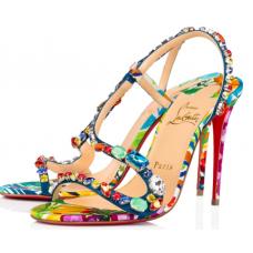 ChristianLouboutin Sandals Rosapetra Sandals with BLUE/MULTI-CREPE SATIN/SATIN/LUREX