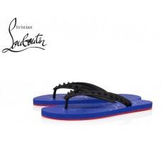 Christian Louboutin Loubi Flip Flat in Rubber - BLACK/BLUE
