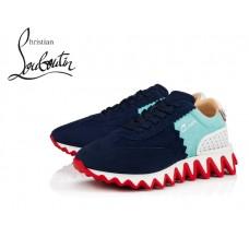 Christian Louboutin Loubishark Flat Runners with Kid Leather - BLUE