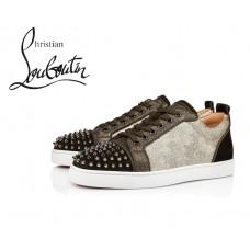 Christian Louboutin Louis Junior Spikes Orlato Flat Low Tops in Cotton - ALPINO