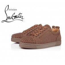 Christian Louboutin Louis Junior Spikes Orlato Flat Low Tops in Suede - BAOBAB