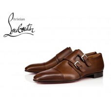 Christian Louboutin Mortimer Flat Derby with Calf - BROWN