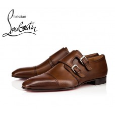Christian Louboutin Mortimer Flat Loafer with Veau Velours - BROWN