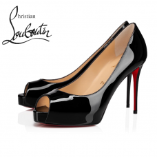 Christian Louboutin New Very Prive 100mm Platforms in Patent Leather - BLACK