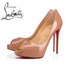 Christian Louboutin New Very Prive 120mm Platforms in Patent Leather - NUDE
