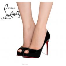 Christian Louboutin New Very Prive 120mm Platforms in Patent Leather - BLACK