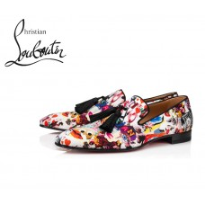 Christian Louboutin Officialito Flat Loafer with Silk - MULTI
