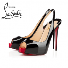Christian Louboutin Private Number 120mm Platforms in Patent Leather - BLACK/RED