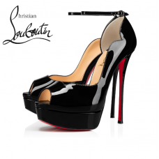 Christian Louboutin Round Chick Alta 150mm Platforms in Patent Calf - BLACK